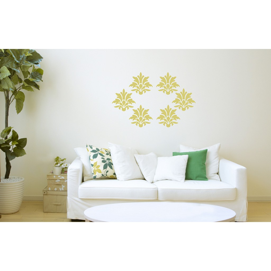 Damask asian paints wall fashion stencil buy online for Wall paint buy online