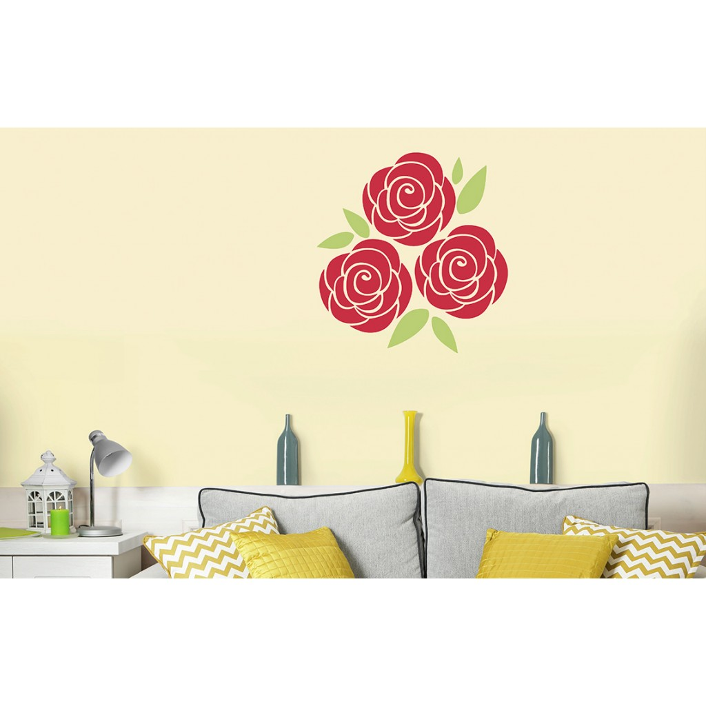 Spring rose asian paints wall fashion stencil buy online for Wall paint buy online