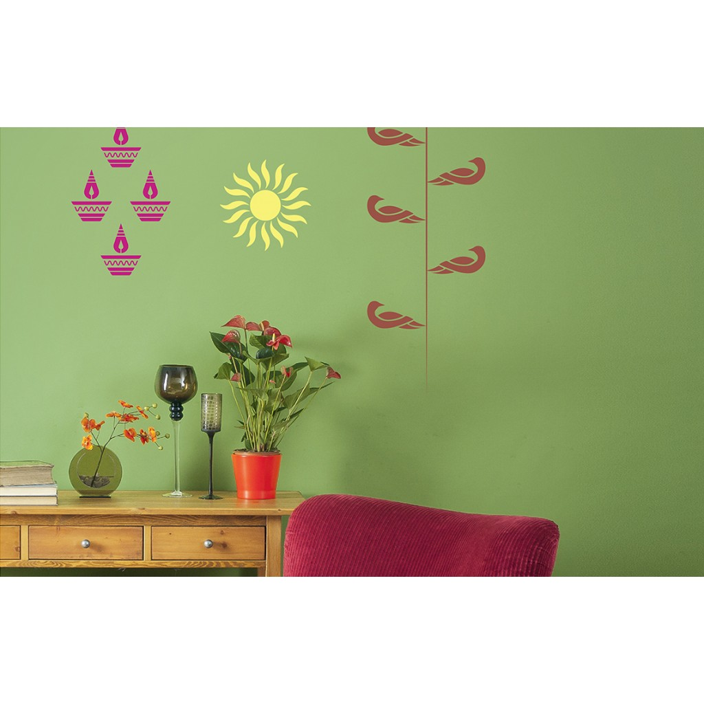 Combo stencil kit 2 asian paints wall fashion stencil for Wall paint buy online