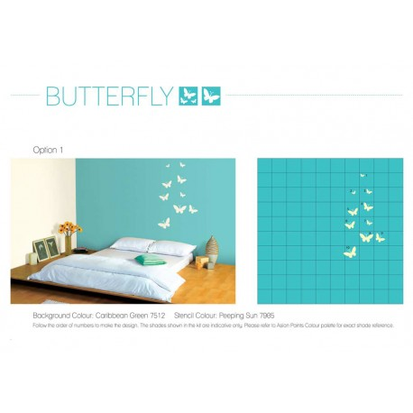 Wall Makeover Kit - Butterfly Stencil + Paint + Tools