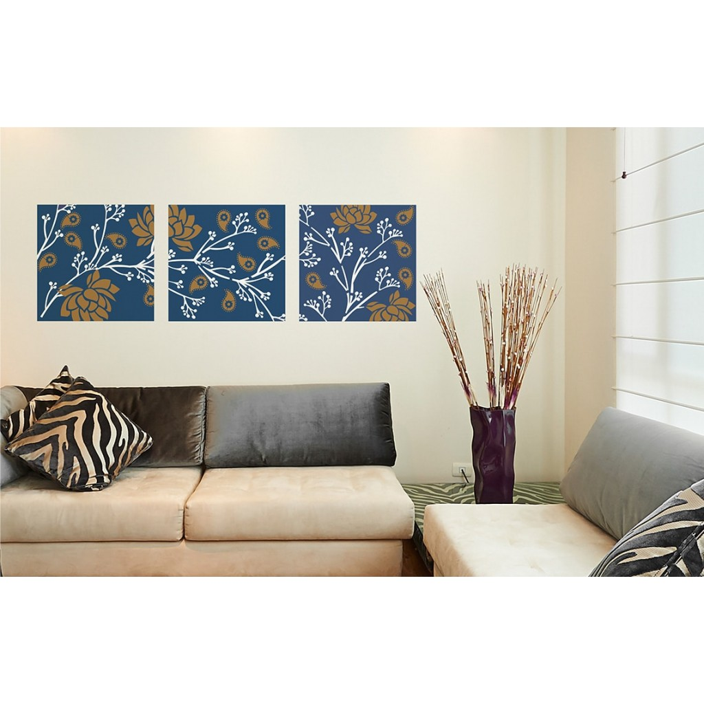 Floral fusion asian paints wall fashion stencil buy online for Wall paint buy online