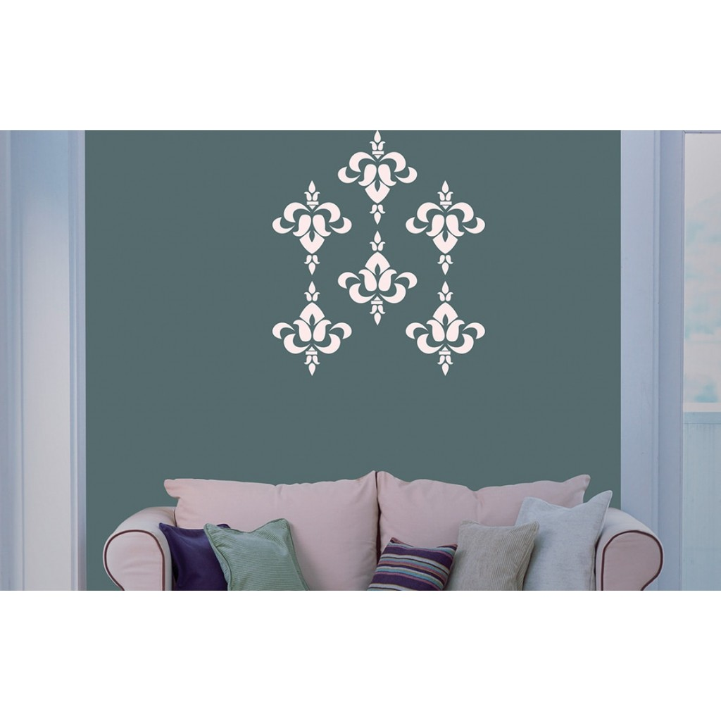 Brocade asian paints wall fashion stencil buy online - Oriental stencils for walls ...