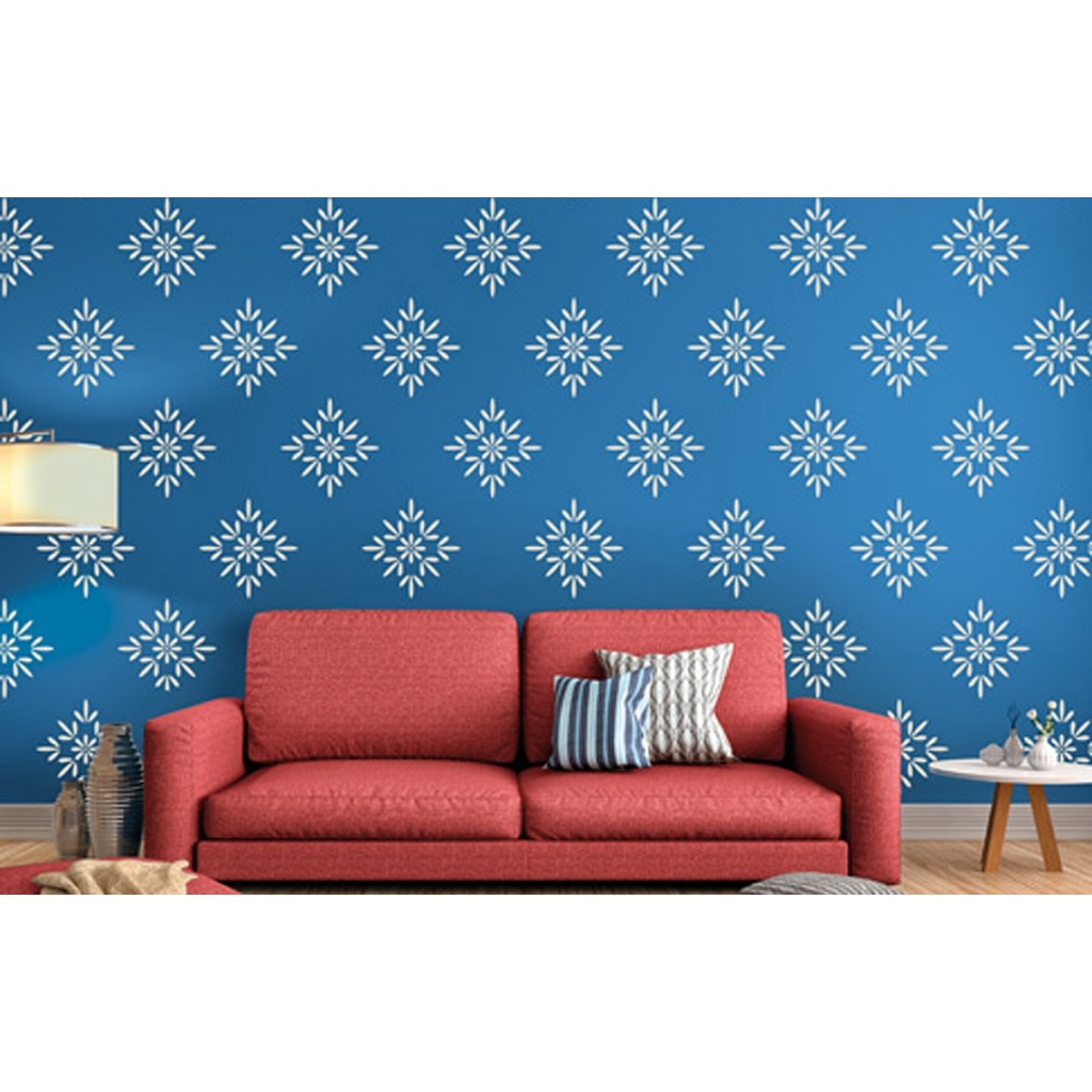 Buds and blossoms asian paints wall fashion stencil for Paint your home online