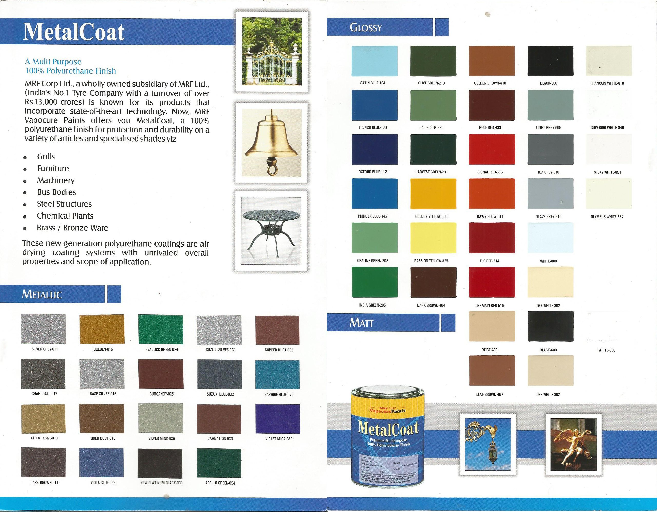 MRF Metal Coat Shade Card