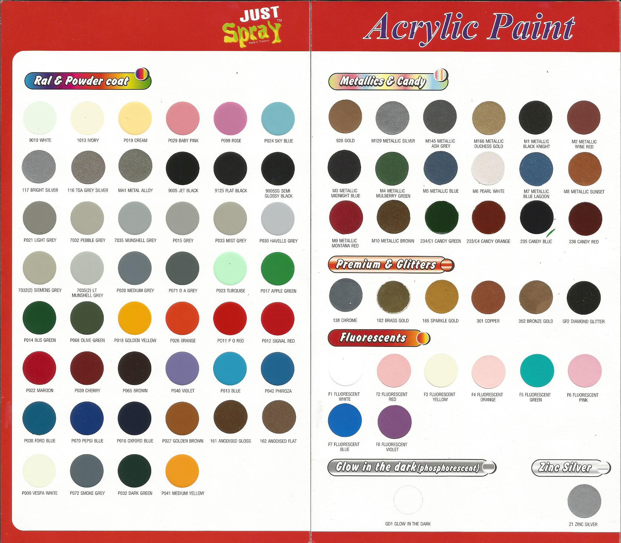 just spray acrylic spray paint shade card. Black Bedroom Furniture Sets. Home Design Ideas
