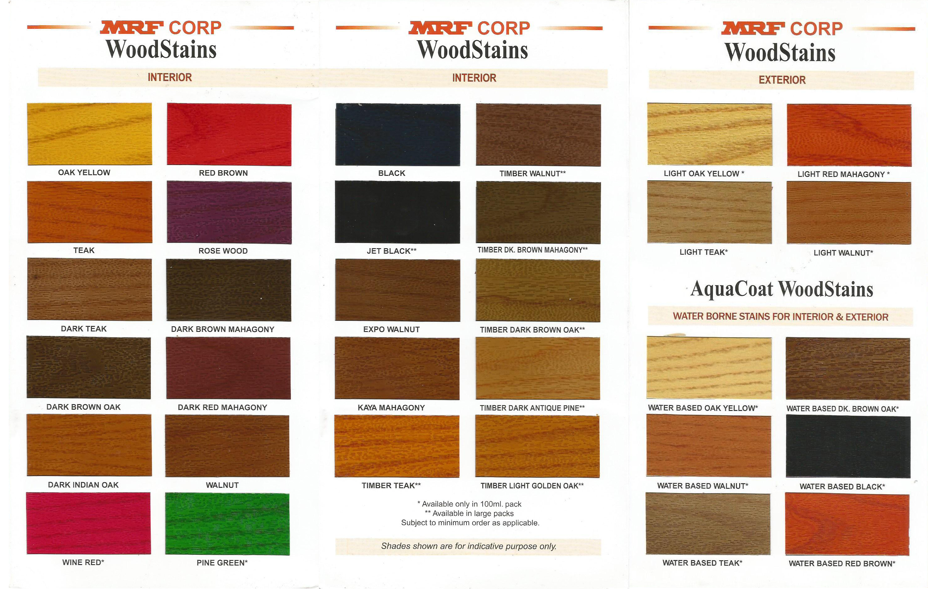 MRF Wood Stains Shades