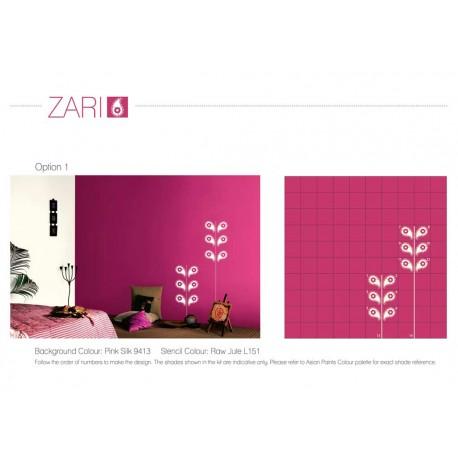 Wall Makeover Kit - Zari Stencil + Paint + Roller